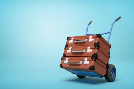 3d rendering of blue hand truck with stack of three brown suitcases on top on light-blue background with copy space.