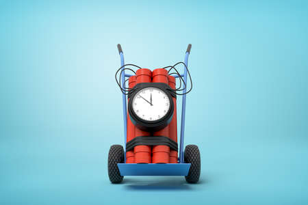 3d rendering of big dynamite bundle with time bomb on blue hand truck on light-blue background.