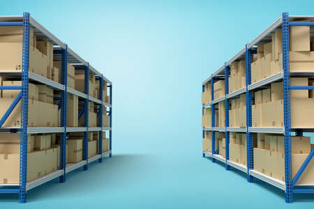 3d rendering of two silver blue metal racks with cardboard boxes on blue background