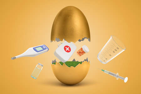 3d rendering of first aid medical box, pills, medical syringe, digital thermometer and medical jars hatching out of golden egg on yellow background