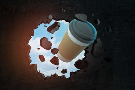 3d close-up rendering of paper coffee cup breaking hole in black wall with blue sky seen through hole.