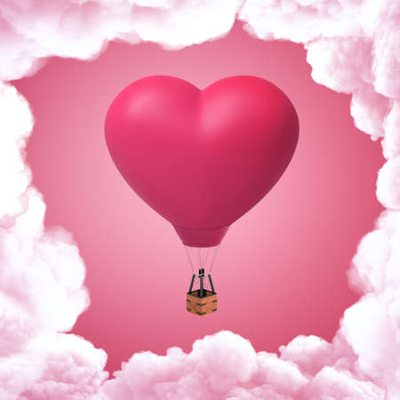 3d rendering of pink heart shaped hot air balloon with white clouds on pink background