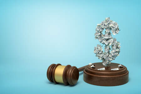 3d rendering of dollar sign formed with dollar banknotes standing on sounding block with gavel beside on blue background with copy space.