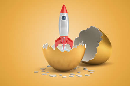 3d close-up rendering of space rocket emerging from broken golden eggshell.