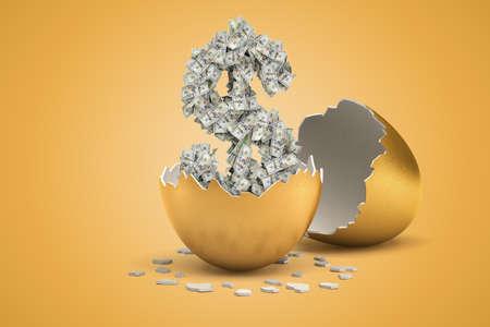 Representación 3D de dólar de dinero del huevo de oro sobre fondo amarillo