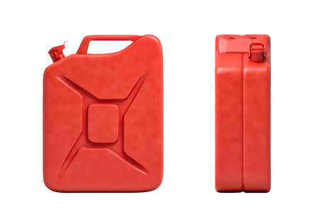 3d rendering of two red gas cans, front view and side view, isolated on white background.