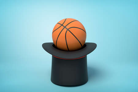 3d rendering of orange basketball ball on black top hat upside down on blue background