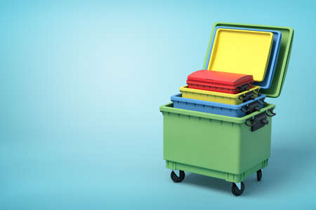3d rendering of four nested colorful trash bins on blue background