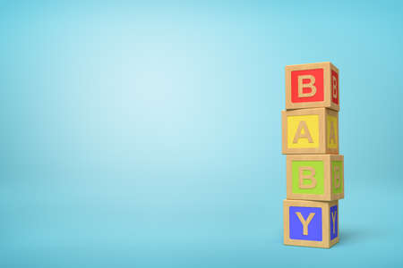 3d rendering of alphabet toy blocks on blue background.