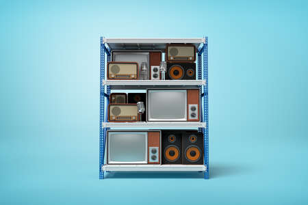 3d rendering of old retro radio and tv sets on silver blue metal rack shelves on blue background