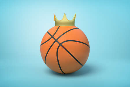3d close-up rendering of basketball with small golden crown on top on light-blue background. 스톡 콘텐츠