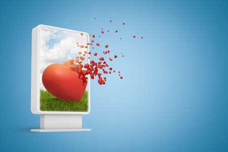 Rendu 3D de l'affichage d'informations numériques montrant un joli coeur rouge commençant à se dissoudre en particules, sur fond bleu dégradé avec espace de copie.