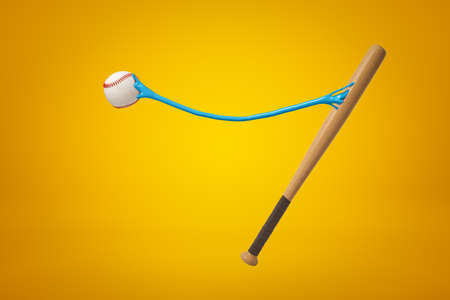 3d rendering of baseball and baseball bat with blue sticky slime between joining them together on yellow background. Imagens