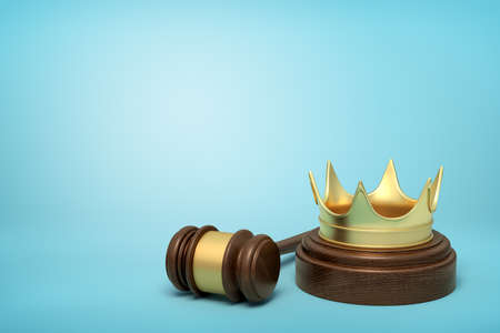 3d rendering of golden crown on round wooden block and brown wooden gavel on blue background