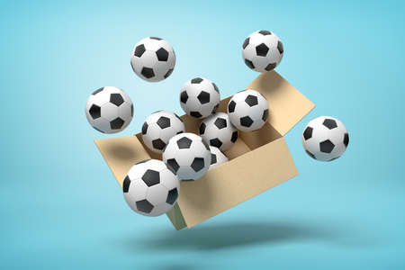 3d rendering of cardboard box full of footballs in mid-air on light-blue background.