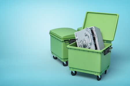 3d rendering of two green trash cans, front can open with bent and broken metal safe inside, on light-blue background. Stock Photo