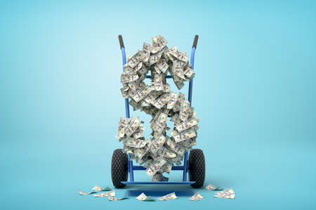 3d rendering of big dollar sign made of banknotes on a hand truck on blue background