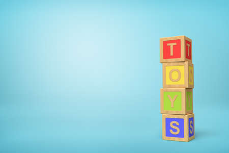 3d rendering of alphabet toy blocks on blue background.