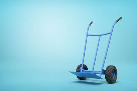 3d rendering of blue empty hand truck standing upright in half-turn on light-blue background with much copy space.