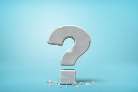 3d rendering of stone concrete question mark on blue background