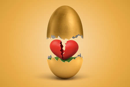 3d rendering of gold egg cracked in two, lower half with green grass inside, upper half in air, with broken red heart inside egg on ocher background. Фото со стока
