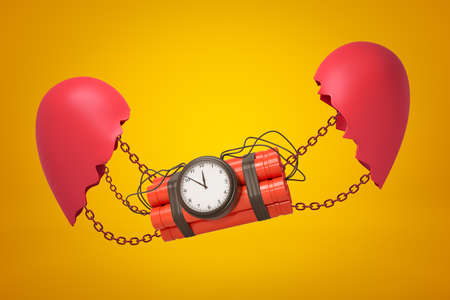 3d close-up rendering of dynamite bundle with timer bomb suspended on chains between two parts of broken heart on yellow background. 스톡 콘텐츠