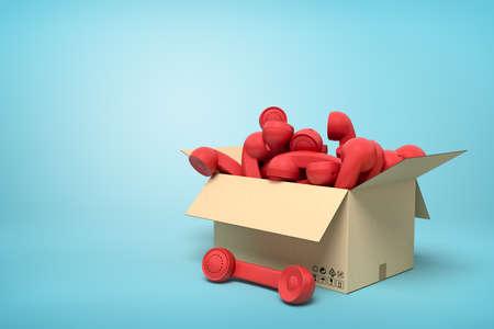 3d rendering of cardboard box full of red landline phone receivers on blue background.