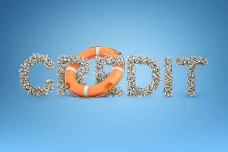 Renderingu 3D tytułu KREDYT z partii banknotów dolarowych z koło ratunkowe w środku. Zdjęcie Seryjne