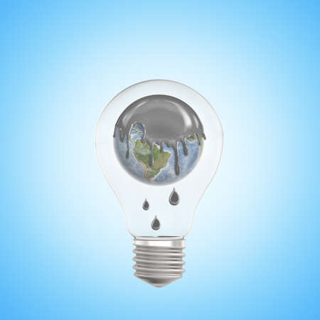 3d closeup rendering of lightbulb with Earth globe inside, its top covered in thick grey liquid dripping down, on light-blue gradient background.
