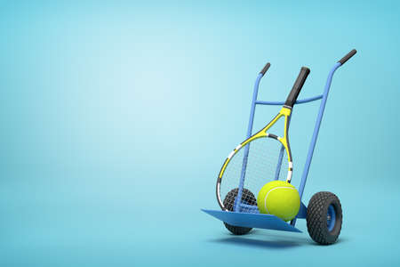 3d rendering of navy blue hand truck standing upright in half-turn with tennis ball and racket on it on light-blue background with copy space.