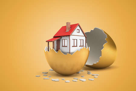 3d rendering of one-storeyed house in half of gold eggshell with the other eggshell lying behind on ocher background. 写真素材
