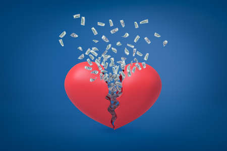 3d rendering of valentine heart broken in two with dollars flying out from inside. 스톡 콘텐츠