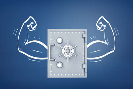 3d rendering of a bank safe box with chalk drawn muscular arms on both sides from it on a blue background.