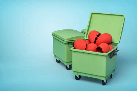 3d rendering of two green trash cans, front can open and full of broken valentine hearts, on light-blue background. Фото со стока