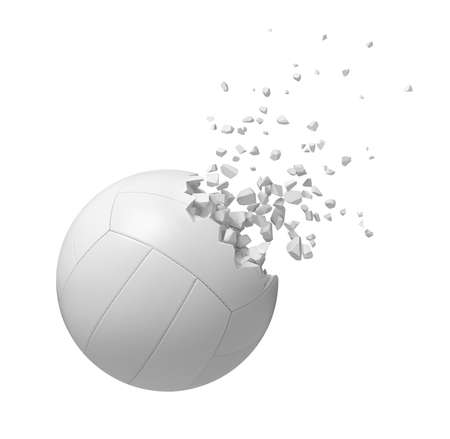 3d rendering of white volleyball starting to dissolve into particles isolated on white background.