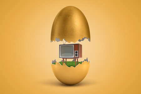 3d rendering of gold egg cracked in two, upper half levitating in air, retro TV set standing on green grass inside lower half, on ocher background.