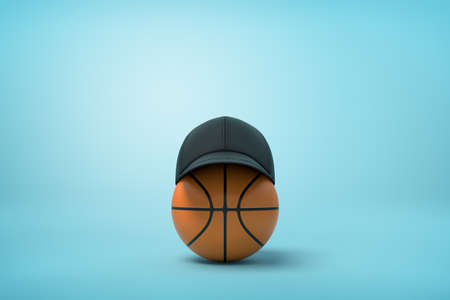 3d rendering of basketball with black baseball cap on top on light-blue background with copy space.