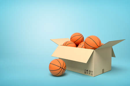 3d rendering of basketballs in carton box on blue background.