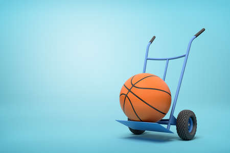 3d rendering of orange basketball ball on a hand truck on blue background