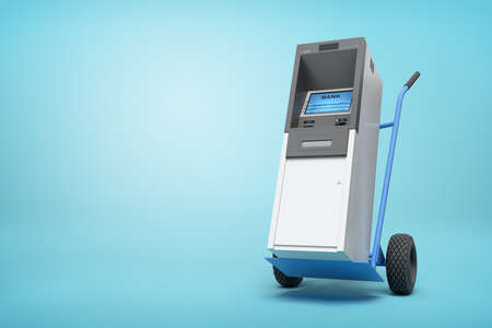 3d rendering of blue hand truck with grey and white ATM on top on light-blue background with copy space.