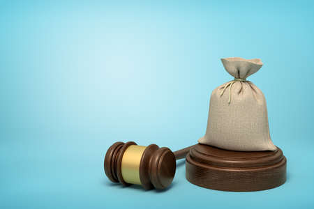 3d rendering of canvas money bag standing on sounding block with gavel beside on light-blue background with copy space.