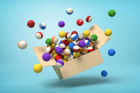 3d rendering of cardboard box in air full of colorful snooker balls which are flying out and floating outside on blue background.
