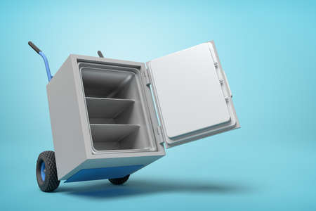 3d rendering of open big light-grey metal safe on blue hand truck on light-blue background with copy space.