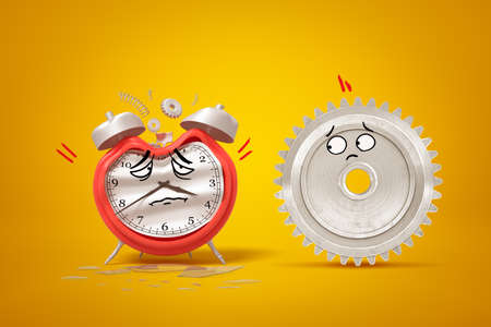 3d rendering of cartoon faced damaged alarm clock and silver gear wheel on yellow background 스톡 콘텐츠