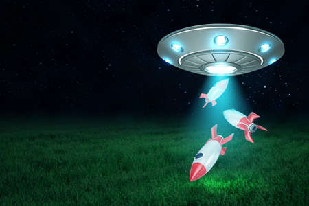 3d rendering of UFO above green field under night sky with three small space rockets falling down from its open hatch.