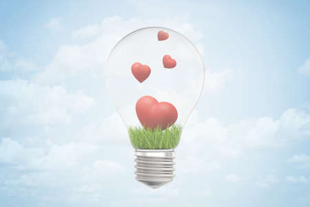 3d closeup rendering of lightbulb and green grass and four cute red hearts inside it, against blue sky with clouds.