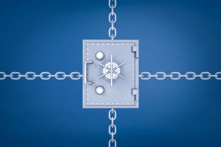 3d rendering of a metal money safe with chains leading from behind it in four different directions on blue background. Reklamní fotografie