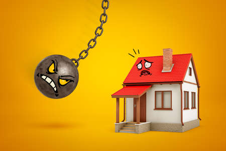 3d rendering of metal chained ball with evil cartoon face going to break white house with red roof and scared cartoon face on yellow background Banco de Imagens