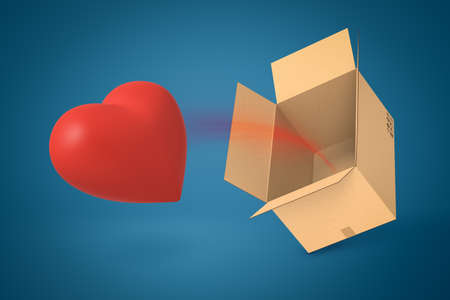 3d rendering of red Valentine heart flying out of brown cardboard box on blue background.