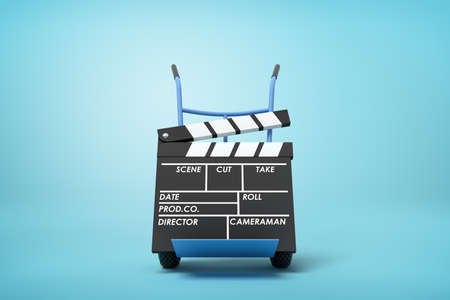 3d rendering of a movie clapper on a hand truck on blue background